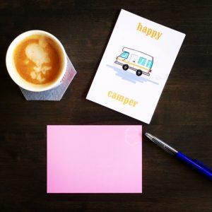 welke kampeer fan stuur jij dit leuke happy camper kaartje?