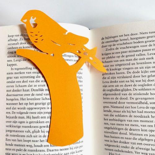 boekenlegger in de vorm van een zebravink
