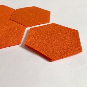 vilten onderzetters hexagon oranje